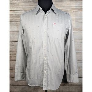 Quicksilver Slim Fit Gray Button Camp Surf Shirt M